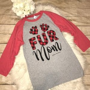 Simply Faithful Fur Mom Buffalo Plaid Raglan Tee